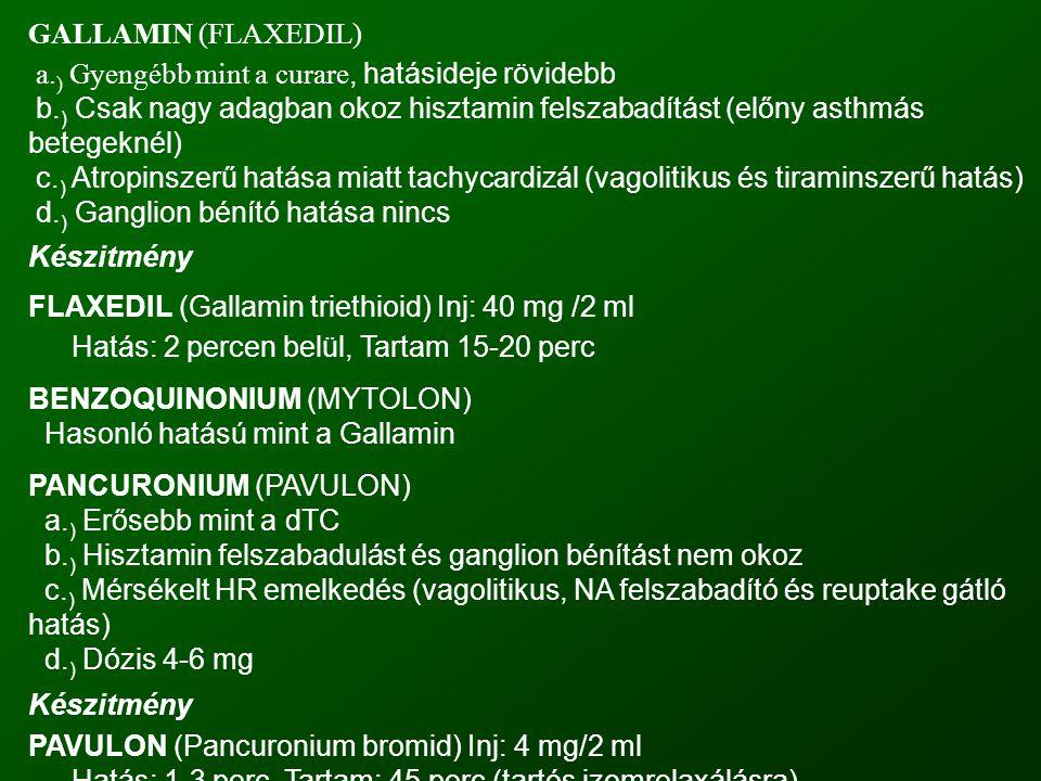 GALLAMIN (FLAXEDIL) a.) Gyengébb mint a curare, hatásideje rövidebb. b.) Csak nagy adagban okoz hisztamin felszabadítást (előny asthmás betegeknél)