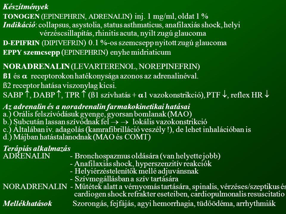 NORADRENALIN (LEVARTERENOL, NOREPINEFRIN)