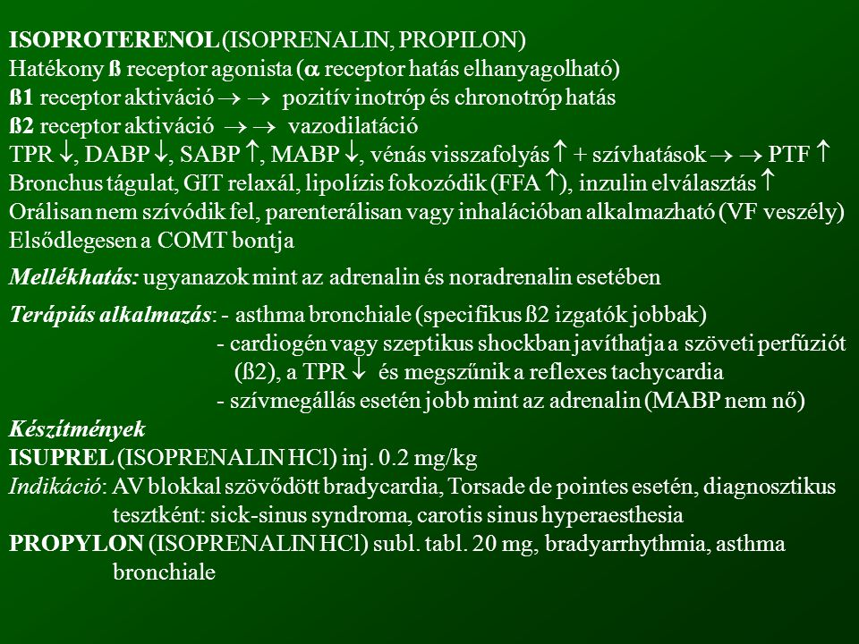 ISOPROTERENOL (ISOPRENALIN, PROPILON)