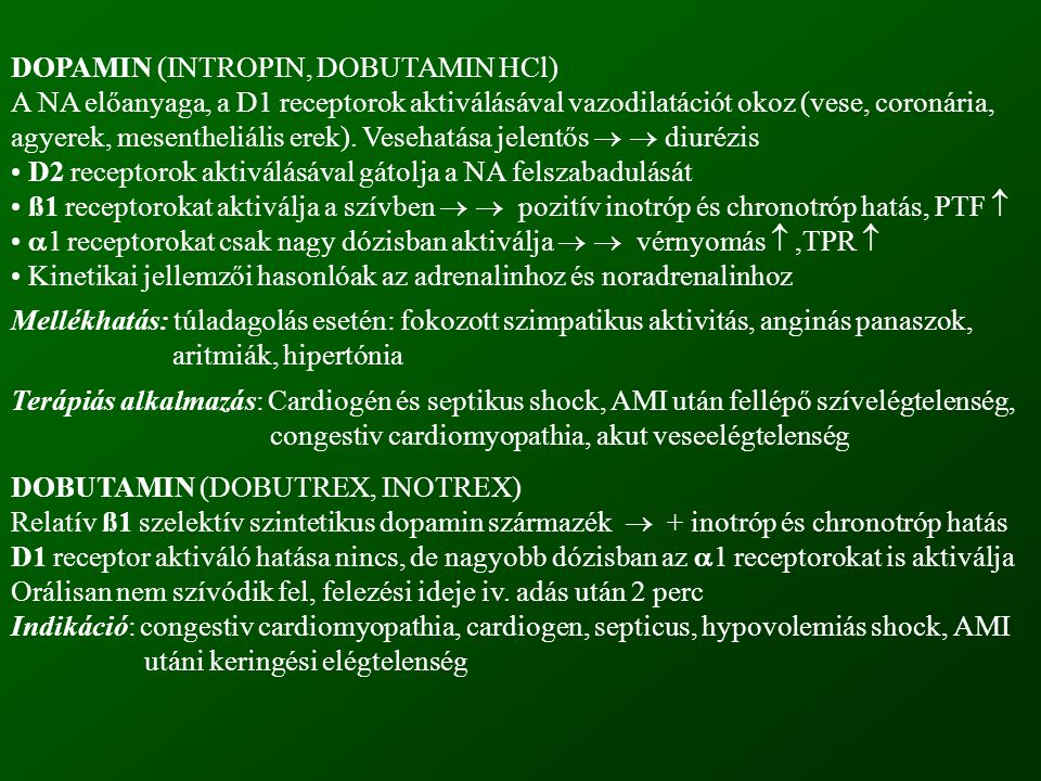 DOPAMIN (INTROPIN, DOBUTAMIN HCl)