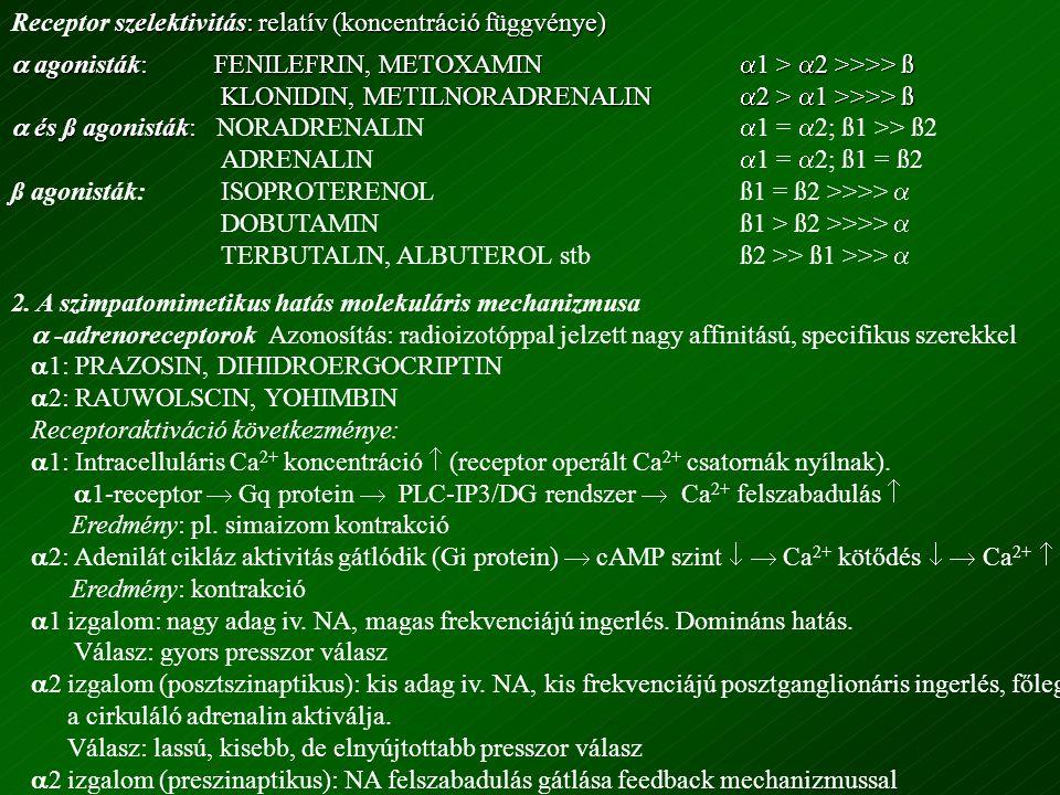 Receptor szelektivitás: relatív (koncentráció függvénye)