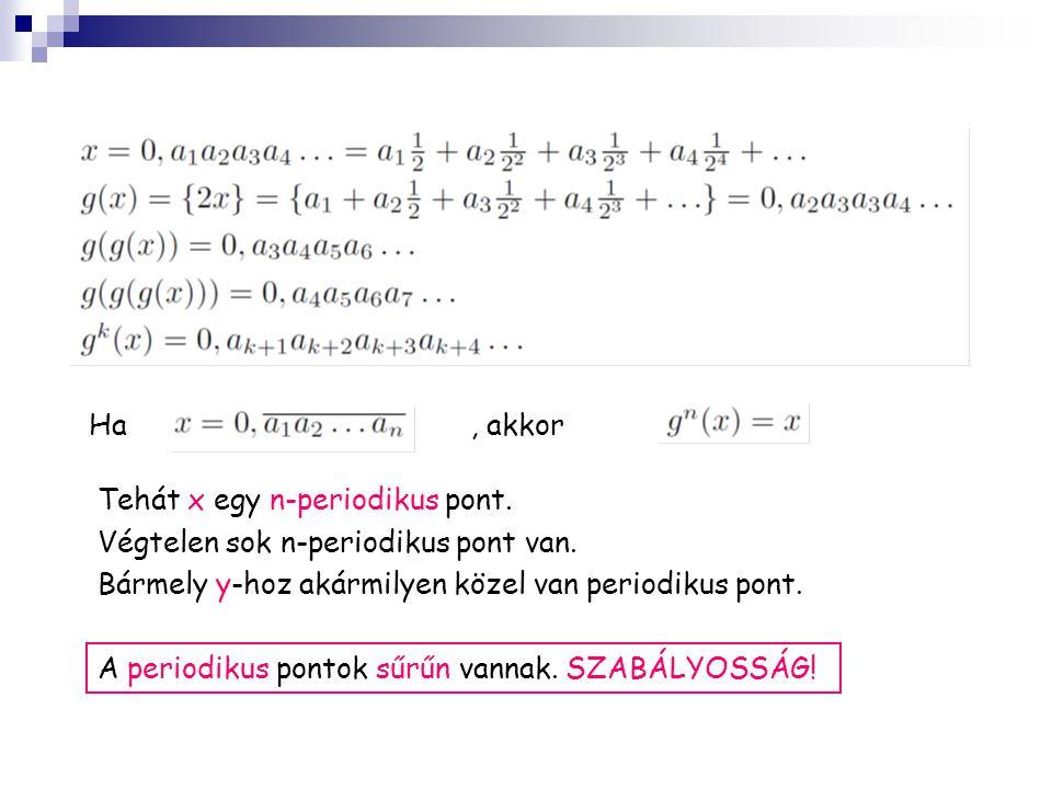 Ha , akkor. Tehát x egy n-periodikus pont. Végtelen sok n-periodikus pont van. Bármely y-hoz akármilyen közel van periodikus pont.
