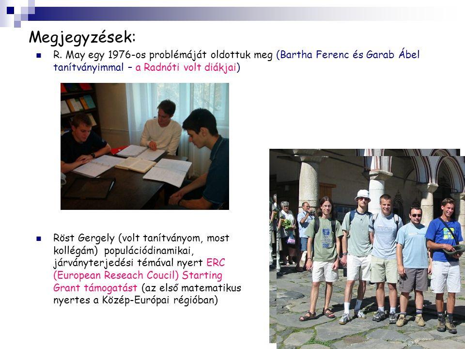 Megjegyzések: R. May egy 1976-os problémáját oldottuk meg (Bartha Ferenc és Garab Ábel tanítványimmal – a Radnóti volt diákjai)
