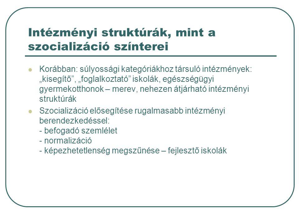 Intézményi struktúrák, mint a szocializáció színterei