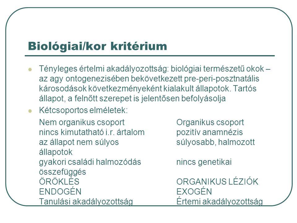 Biológiai/kor kritérium
