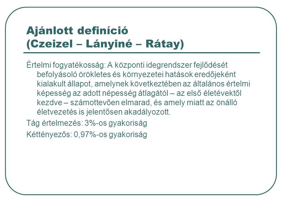 Ajánlott definíció (Czeizel – Lányiné – Rátay)