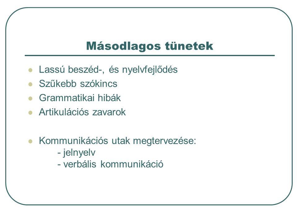 Másodlagos tünetek Lassú beszéd-, és nyelvfejlődés Szűkebb szókincs