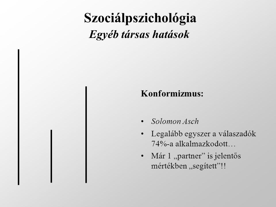 Szociálpszichológia Egyéb társas hatások Konformizmus: Solomon Asch