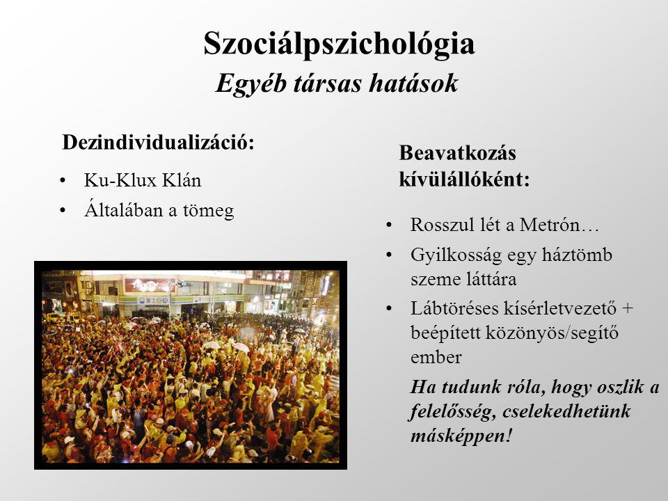 Szociálpszichológia Egyéb társas hatások Dezindividualizáció: