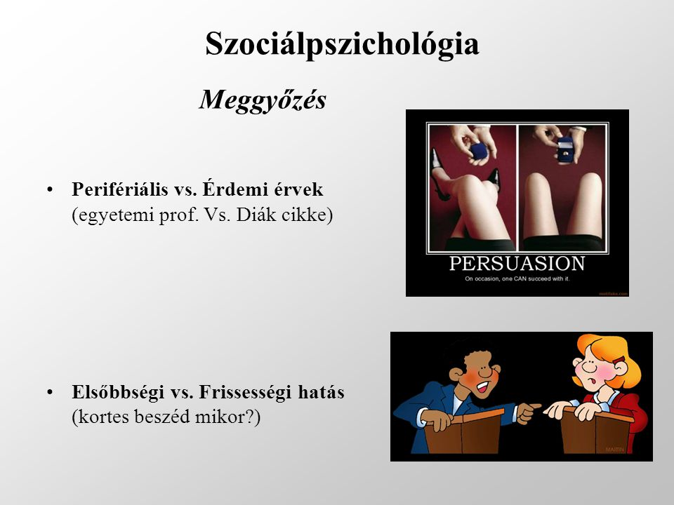 Szociálpszichológia Meggyőzés