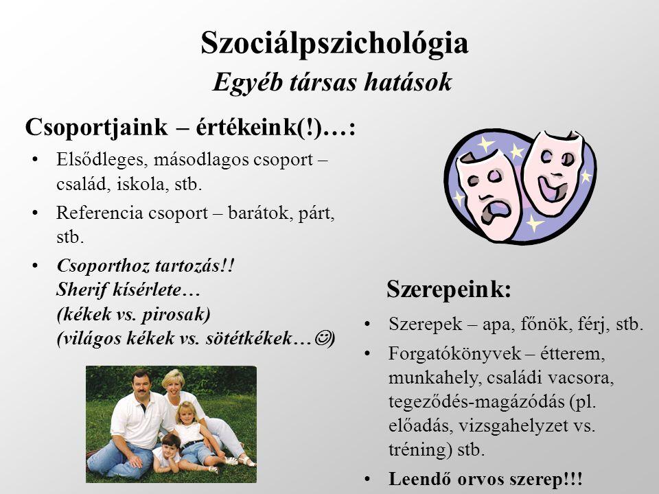 Szociálpszichológia Egyéb társas hatások Csoportjaink – értékeink(!)…: