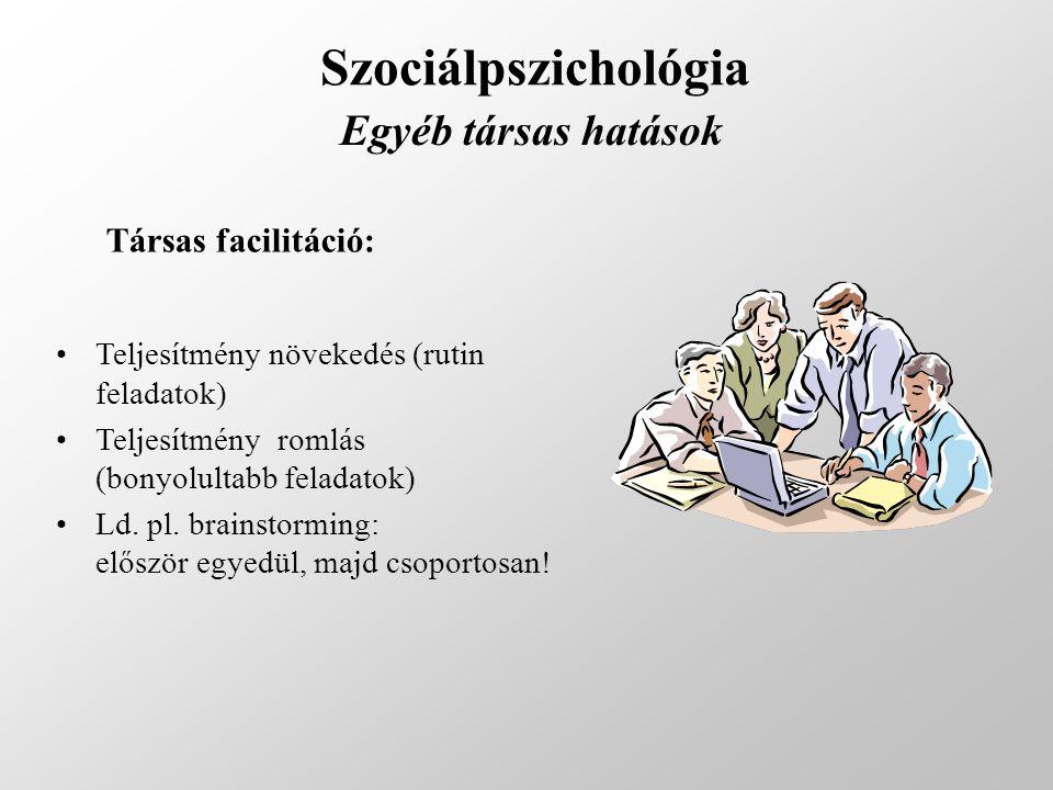 Szociálpszichológia Egyéb társas hatások Társas facilitáció:
