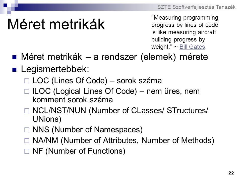Méret metrikák Méret metrikák – a rendszer (elemek) mérete