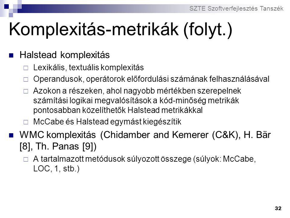 Komplexitás-metrikák (folyt.)