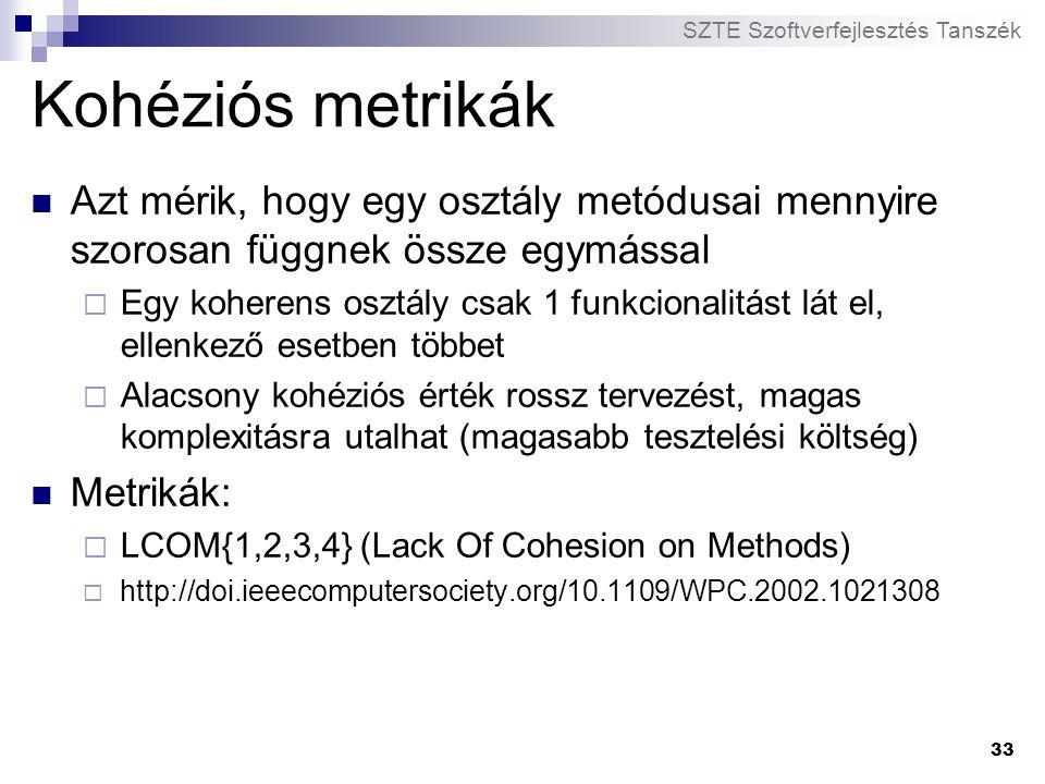 Kohéziós metrikák Azt mérik, hogy egy osztály metódusai mennyire szorosan függnek össze egymással.