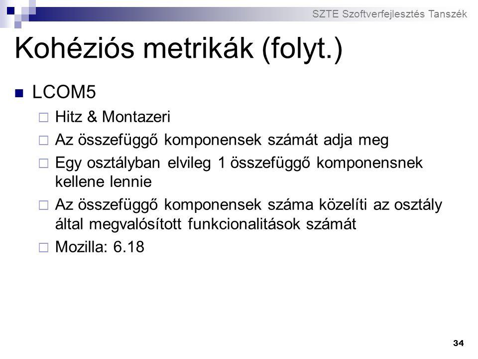 Kohéziós metrikák (folyt.)