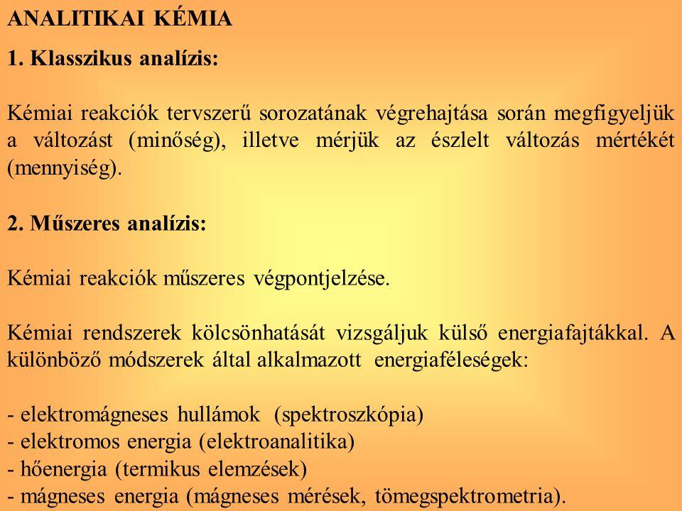 ANALITIKAI KÉMIA 1. Klasszikus analízis: