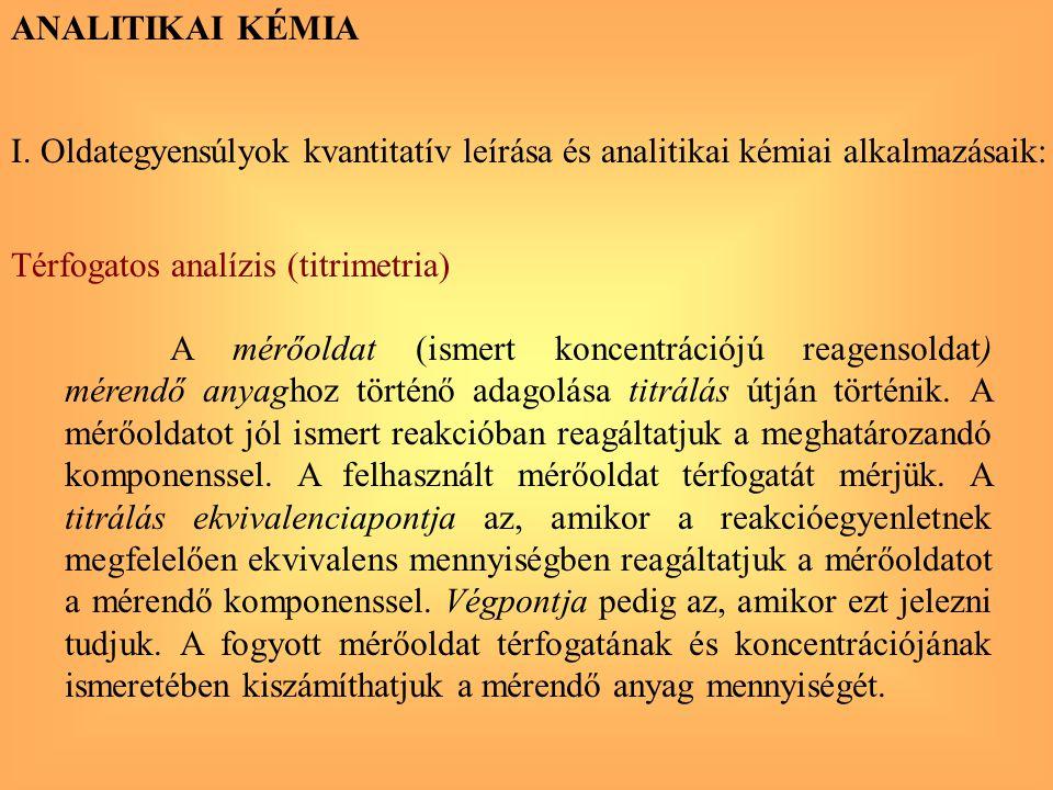ANALITIKAI KÉMIA I. Oldategyensúlyok kvantitatív leírása és analitikai kémiai alkalmazásaik: Térfogatos analízis (titrimetria)