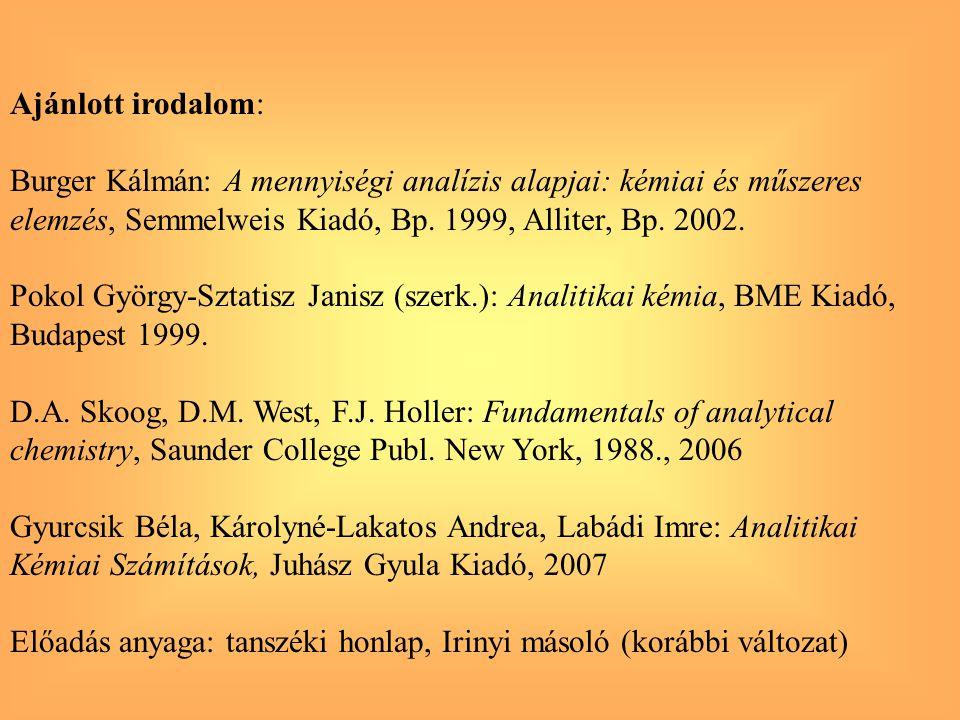 Ajánlott irodalom: Burger Kálmán: A mennyiségi analízis alapjai: kémiai és műszeres. elemzés, Semmelweis Kiadó, Bp. 1999, Alliter, Bp. 2002.