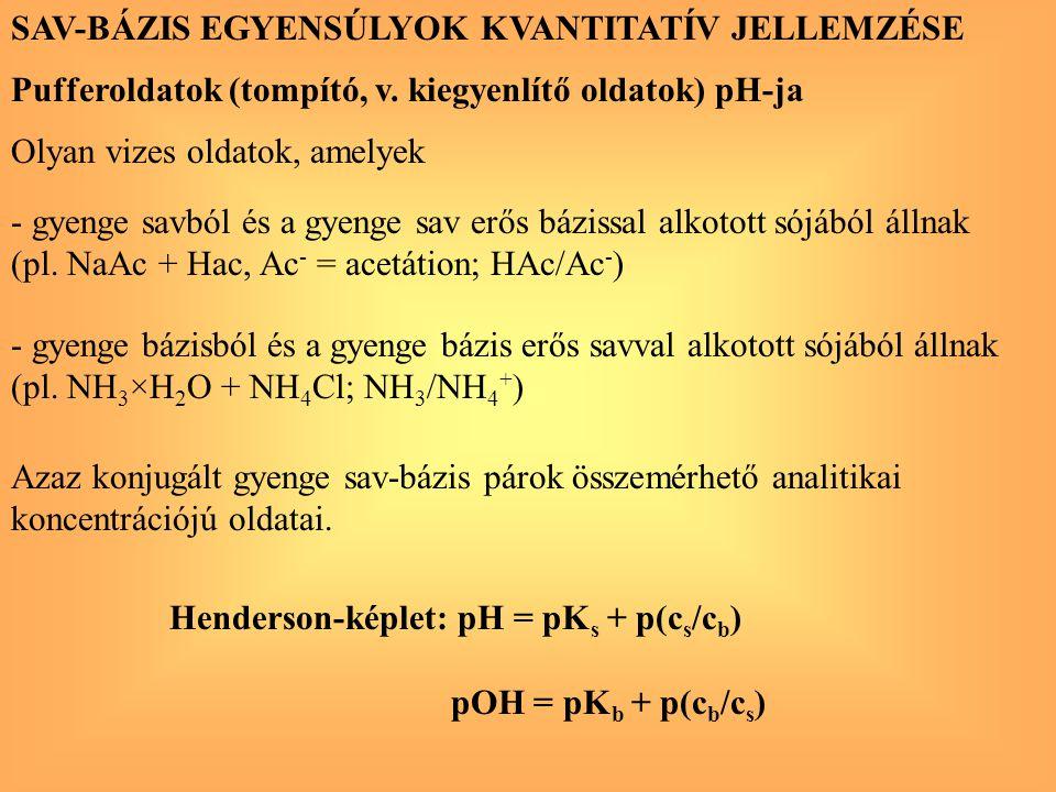SAV-BÁZIS EGYENSÚLYOK KVANTITATÍV JELLEMZÉSE
