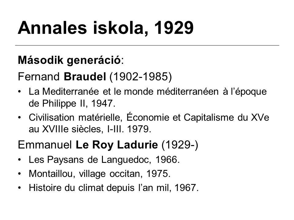 Annales iskola, 1929 Második generáció: Fernand Braudel (1902-1985)