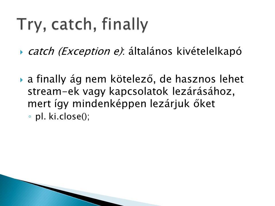 Try, catch, finally catch (Exception e): általános kivételelkapó