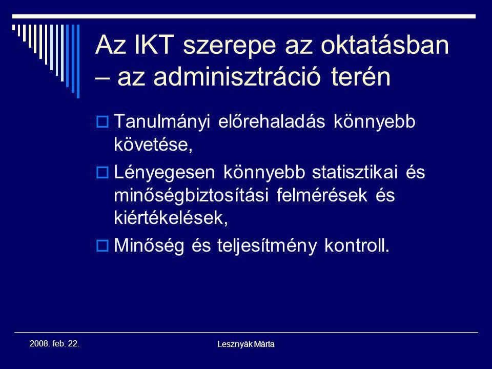 Az IKT szerepe az oktatásban – az adminisztráció terén