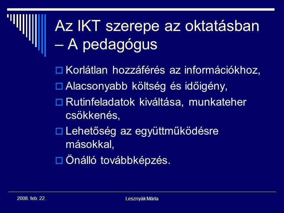 Az IKT szerepe az oktatásban – A pedagógus