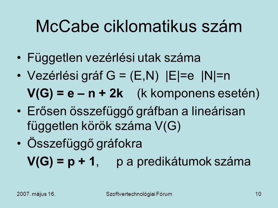 McCabe ciklomatikus szám