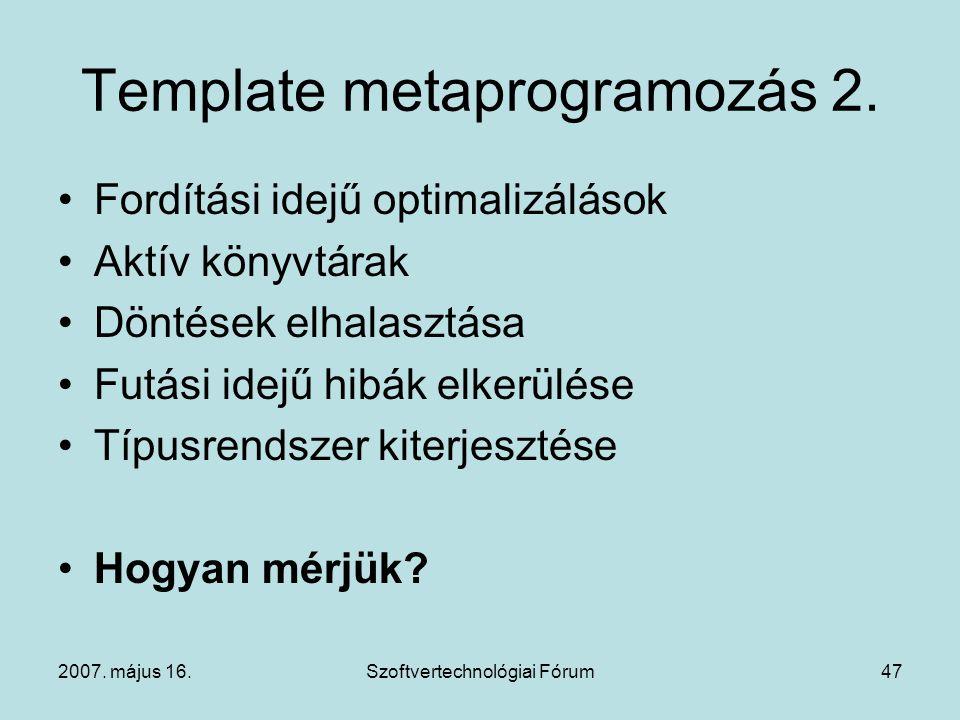 Template metaprogramozás 2.