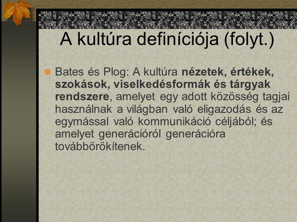 A kultúra definíciója (folyt.)