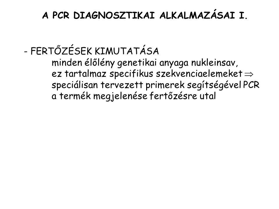 A PCR DIAGNOSZTIKAI ALKALMAZÁSAI I.