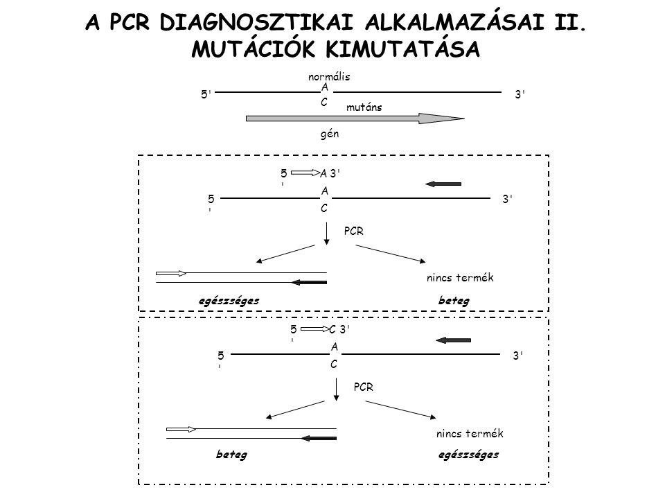 A PCR DIAGNOSZTIKAI ALKALMAZÁSAI II. MUTÁCIÓK KIMUTATÁSA