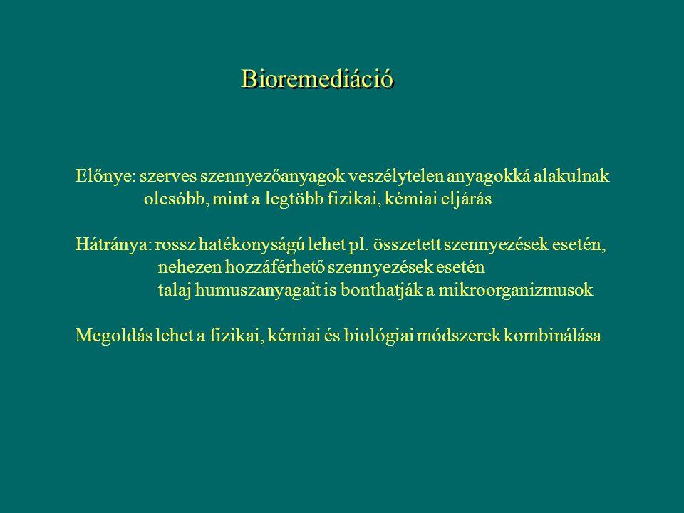 Bioremediáció Előnye: szerves szennyezőanyagok veszélytelen anyagokká alakulnak. olcsóbb, mint a legtöbb fizikai, kémiai eljárás.