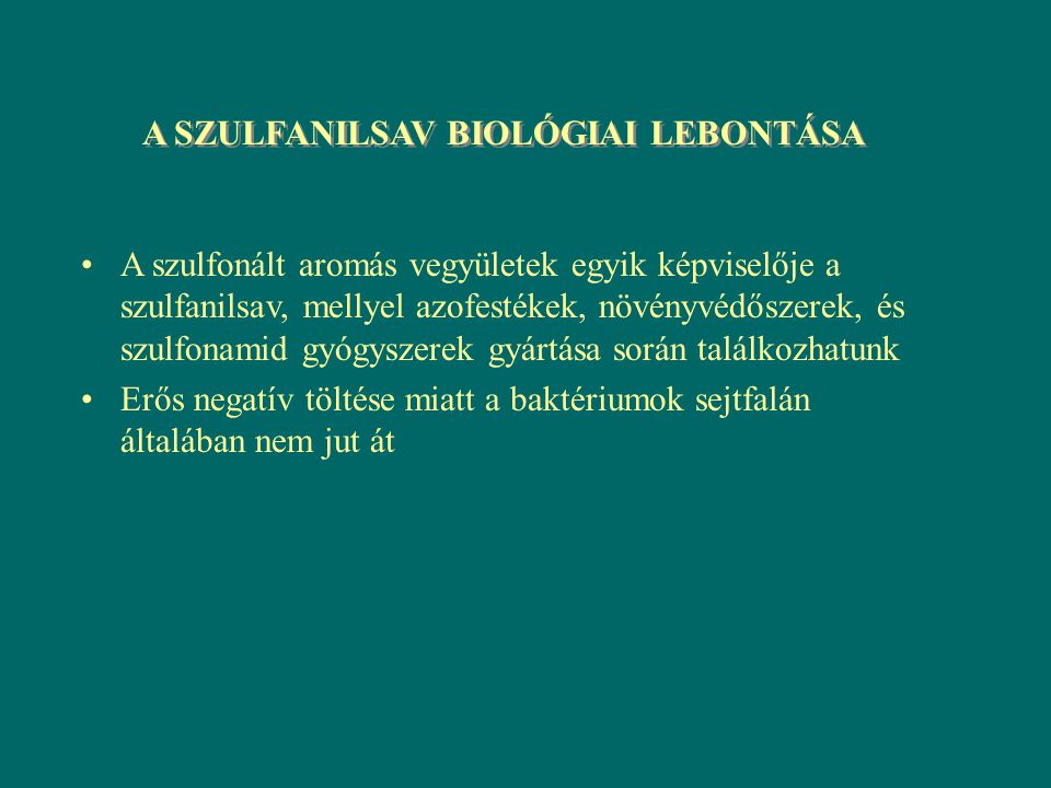 A SZULFANILSAV BIOLÓGIAI LEBONTÁSA