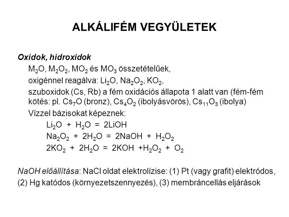 ALKÁLIFÉM VEGYÜLETEK Oxidok, hidroxidok