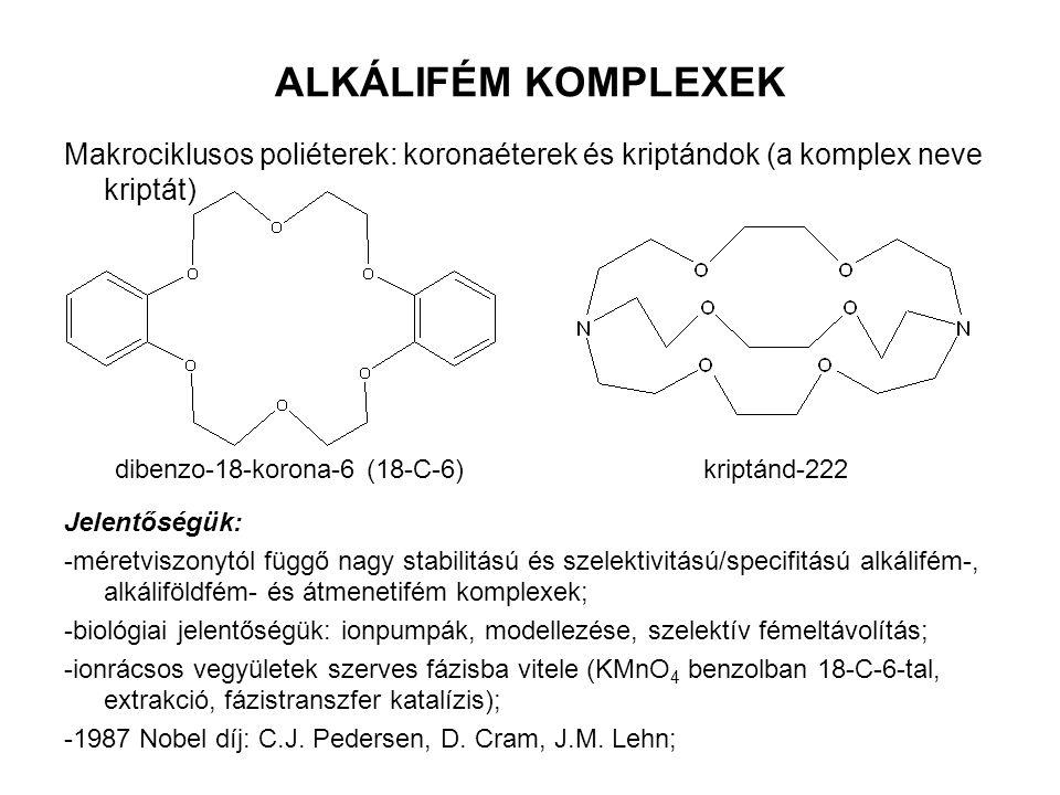 ALKÁLIFÉM KOMPLEXEK Makrociklusos poliéterek: koronaéterek és kriptándok (a komplex neve kriptát) Jelentőségük: