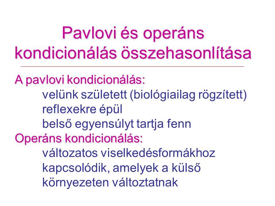 Pavlovi és operáns kondicionálás összehasonlítása