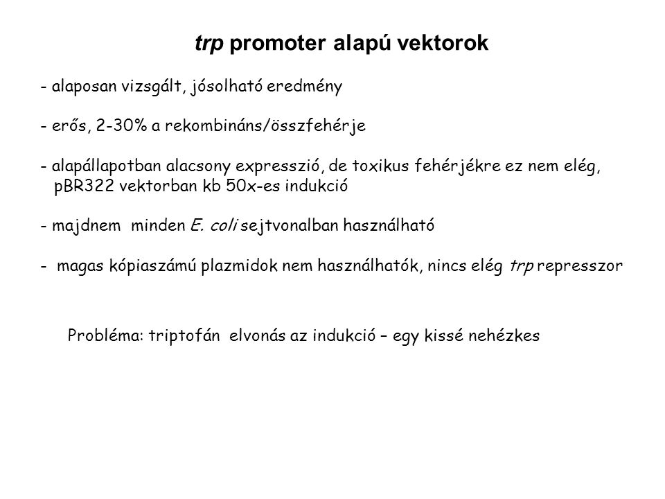 trp promoter alapú vektorok