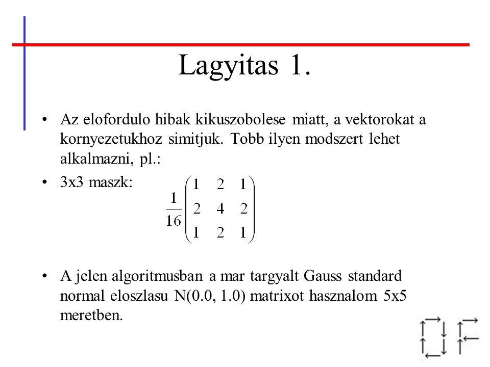 Lagyitas 1. Az elofordulo hibak kikuszobolese miatt, a vektorokat a kornyezetukhoz simitjuk. Tobb ilyen modszert lehet alkalmazni, pl.:
