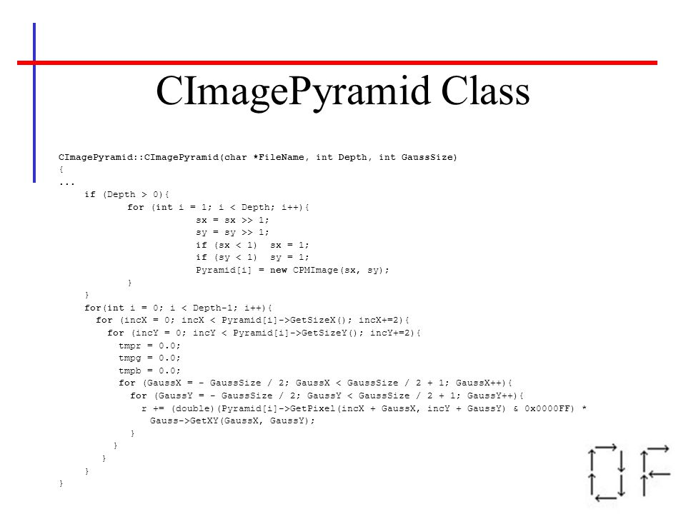 CImagePyramid Class CImagePyramid::CImagePyramid(char *FileName, int Depth, int GaussSize) { ... if (Depth > 0){