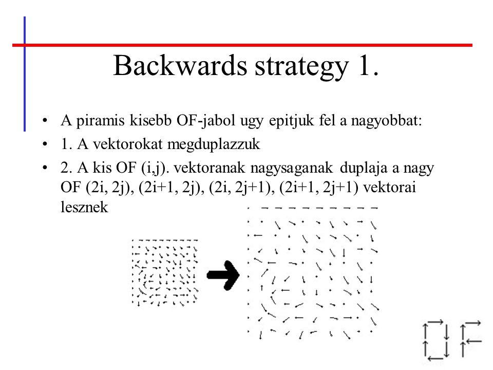 Backwards strategy 1. A piramis kisebb OF-jabol ugy epitjuk fel a nagyobbat: 1. A vektorokat megduplazzuk.