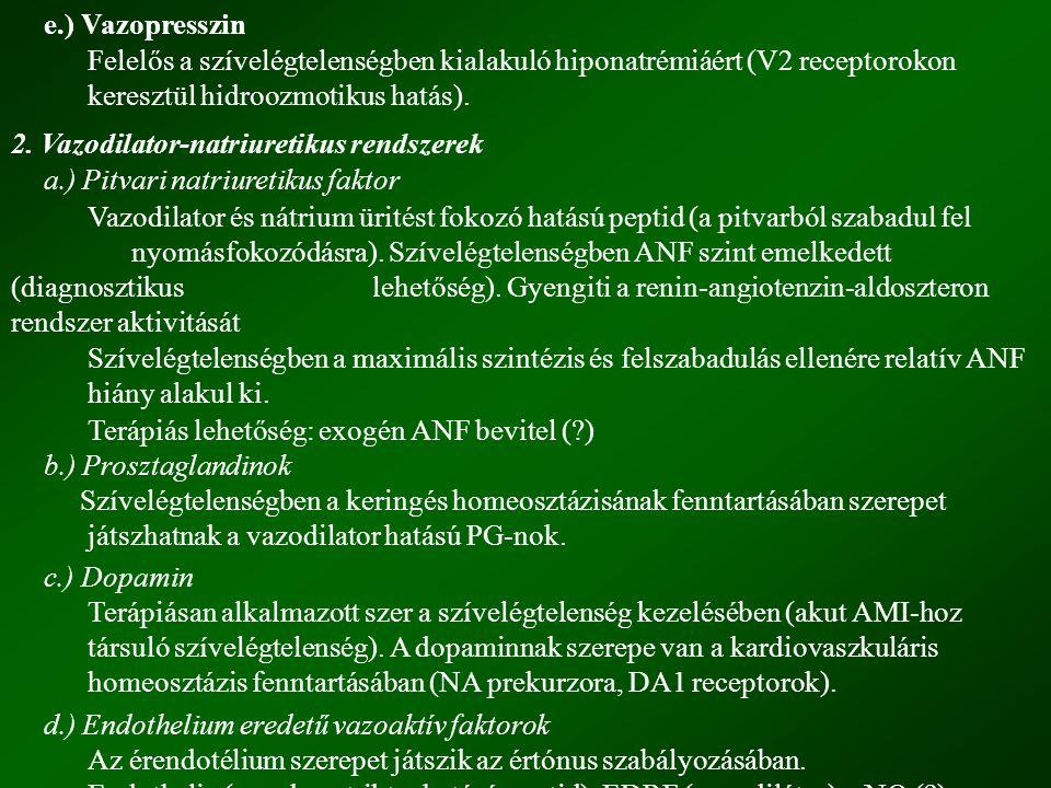 e.) Vazopresszin Felelős a szívelégtelenségben kialakuló hiponatrémiáért (V2 receptorokon keresztül hidroozmotikus hatás).