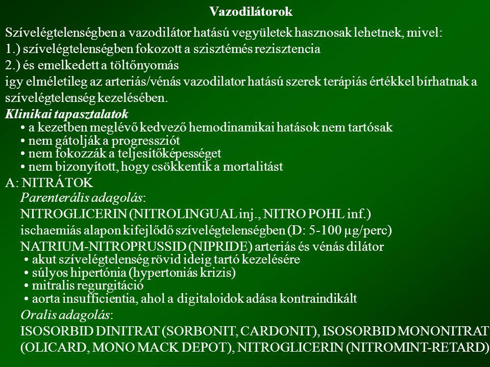Vazodilátorok Szívelégtelenségben a vazodilátor hatású vegyületek hasznosak lehetnek, mivel: