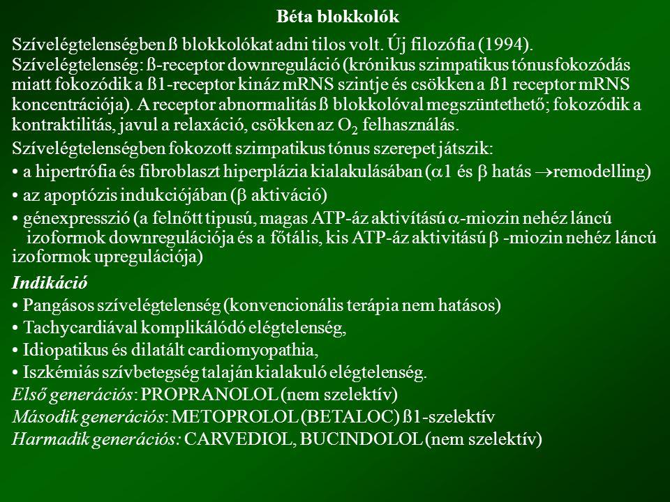 Béta blokkolók Szívelégtelenségben ß blokkolókat adni tilos volt. Új filozófia (1994).