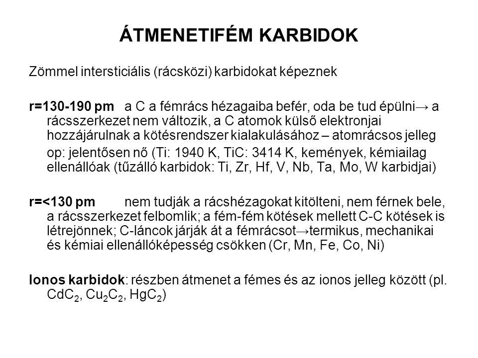 ÁTMENETIFÉM KARBIDOK Zömmel intersticiális (rácsközi) karbidokat képeznek.