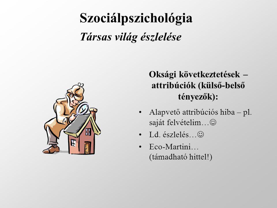 Szociálpszichológia Társas világ észlelése