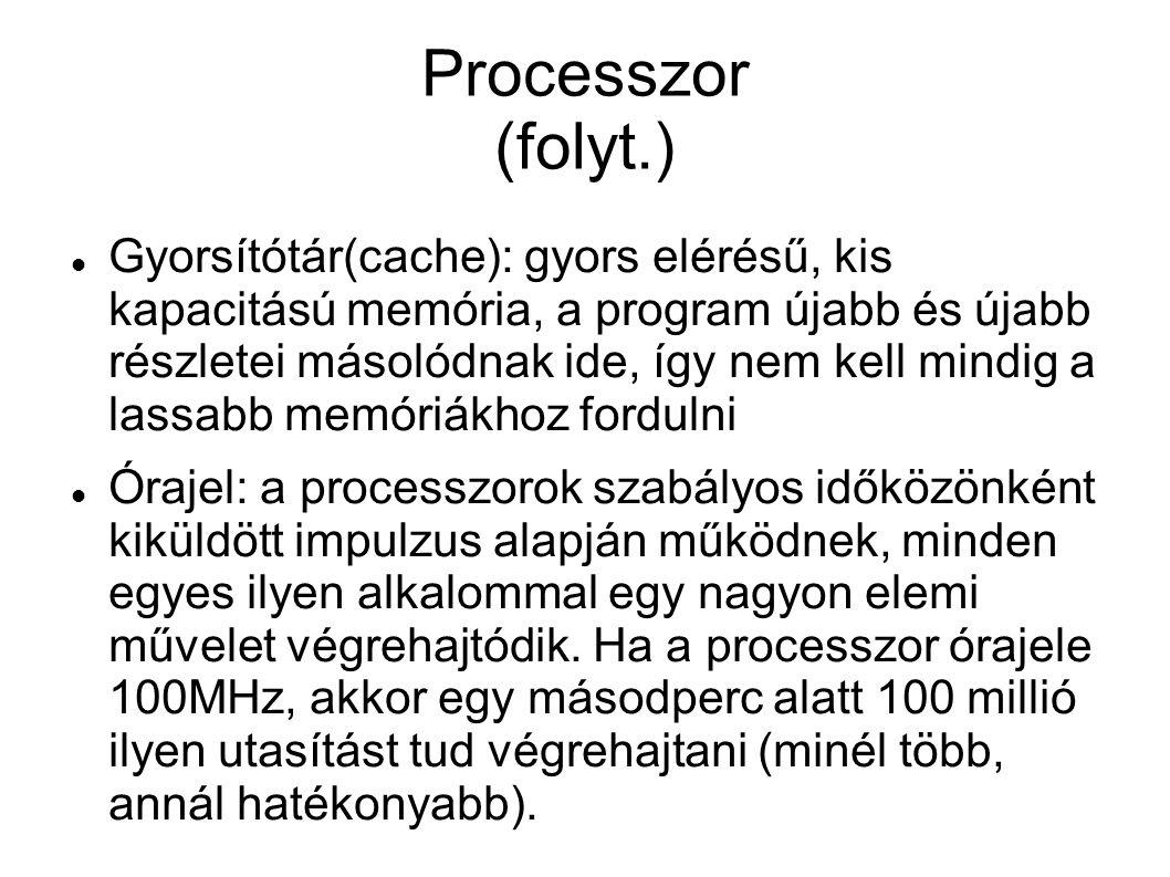 Processzor (folyt.)