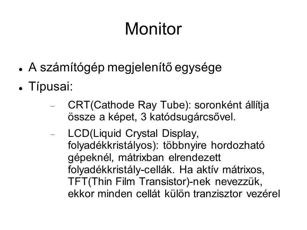 Monitor A számítógép megjelenítő egysége Típusai: