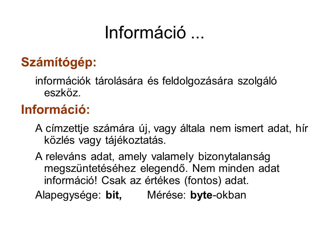 Információ ... Számítógép: Információ:
